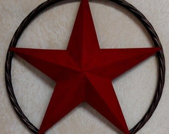 12 inch Red star in twisted metal circle