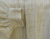 Handmade Tan and white cotton man's shirt, size Large, 19th century
