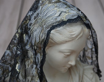 Silver, Gold and Black Mantilla in Honour of St. Eurosia