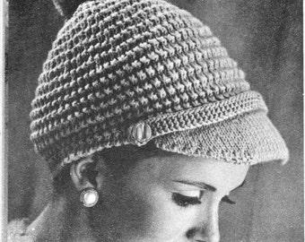 vintage knitting pattern seed stitch pom pom hat cap beret peak visor ladies womens winter 1960 retro style dk weight printable PDf download
