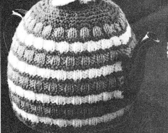 vintage knitting pattern teapot cosy tea cozy striped knit printable pdf instant download bulky weight yarn