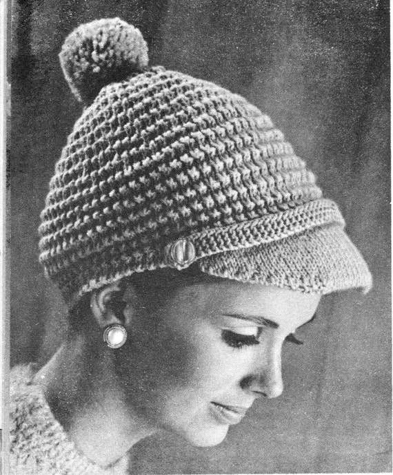 Vintage Knitting Pattern Beret : vintage knitting pattern seed stitch pom pom hat cap beret