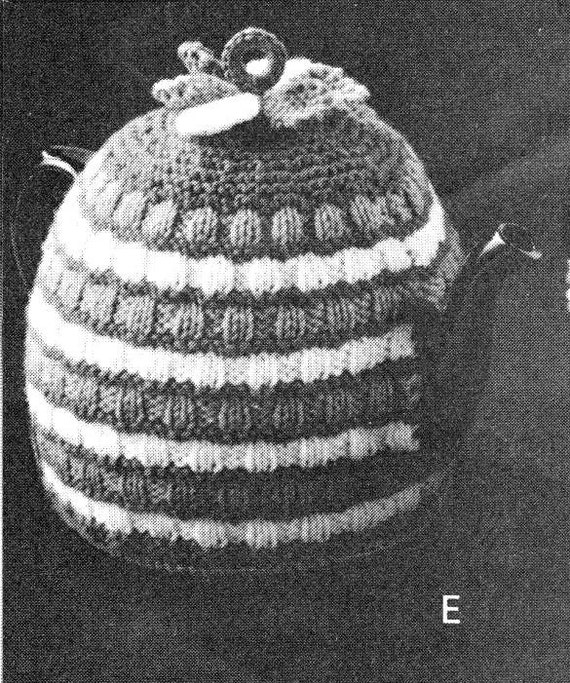 vintage knitting pattern teapot cosy tea cozy striped knit printable pdf inst...