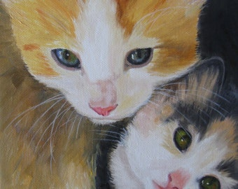 Kitten Painting Kitten Oil Painting Kitten Art Cat Painting Cat Art Cat Oil Painting Pet Painting Kid's Decor Kitchen Decor Karen Snider