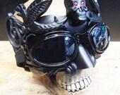STEAMPUNK MASK - Black Venetian Steampunk Masquerade Mask with Skull and Red Rhinestone Eyes & Matching Steampunk Goggles Set - Burning Man
