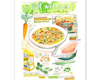 Get well soon ! Chicken soup recipe print, 11X14, 12X16 Kitchen art, Home decor, Food painting, Kitchen poster, Watercolor soup Food artwork