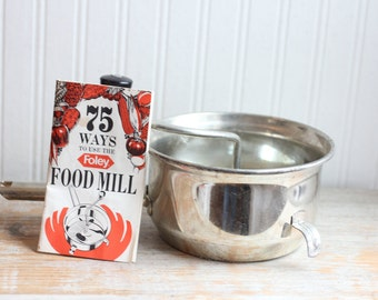 Vintage Foley Food Mill with Recipe Book, Vintage Cookware, DIY Baby Food Maker, Stainless Steel Pan, Ricer Strainer