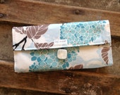Handmade Cream, Taupe, and Aqua Womens Wallet - Vegan Wallet With Zipper Pocket, Ready to ship