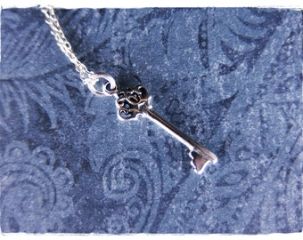Tiny Crown Key Necklace - Sterling Silver Crown Key Charm on a Delicate Sterling Silver Cable Chain or Charm Only
