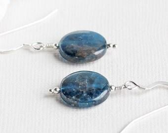 Blue Stone Earrings, Marine Blue Apatite Earrings on Sterling Silver Hooks, Aqua Blue Earrings, Blue Dangle Earrings, Gemstone Jewelry