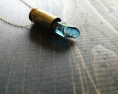 Crystal Bullet Necklace in Gold, Titanium Blue Quartz Brass Bullet Shell Casing, Unisex Jewelry