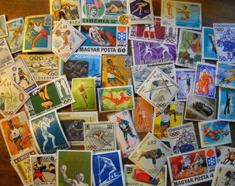 50 Used Vintage SPORTS Olympics Postage Stamps for crafting collage altered art journals scrapbooks philately commemorative stamps 12b
