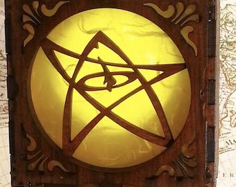 Steampunk Elder Sign, Necronomicon  box, Cthulhu , H P Lovecraft  Glow lamp, unisex Attach corsets or belts.