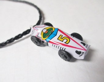RACE CAR DRIVER White Toy Upcycled Vintage Miniature Tin Litho Pendant Charm Necklace