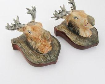 "A Pair of Ceramic Moose Head Wall Figurines - Vases ""Made in Japan"""