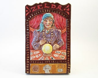 Ceramic Art Tile, ZELDA Fortune Teller Machine Arcade Game, 4 x 6 Handmade Tile, Wall Art