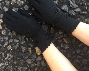 50s Vintage Black 3/4 length Gloves - Glamorous Black Gloves - Size 7 Gloves Van Raalte
