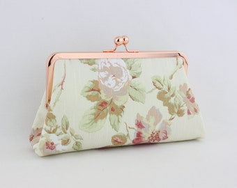 the Rose Garden - Rose Gold Kisslock Frame Clutch - the Christine Style Clutch