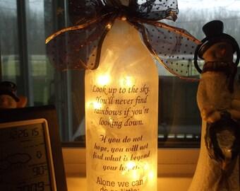 Lighted Bottles, lighted bottle, wine bottle lights, wine bottle light, lighted bottle, lighted bottles, sister, friend, inspirational, hope
