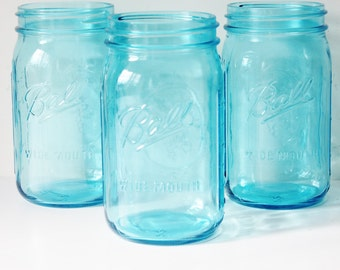6 AQUA BLUE MASON Jars Jar Wide Mouth 32 oz Canning Jars Rustic Vintage Wedding Light Blue Teal Turquoise Beach Ball Candle Holder Vase