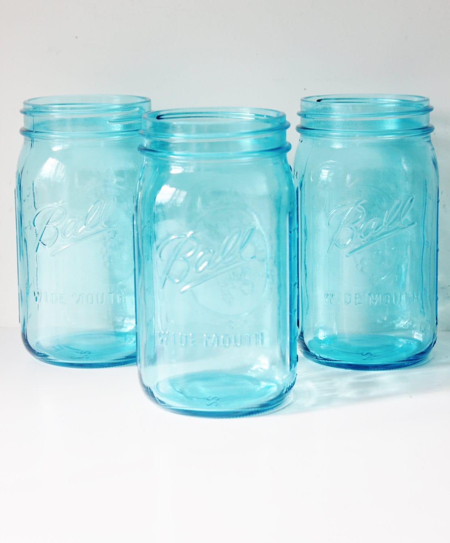 6 aqua blue mason jars jar wide mouth 32 oz canning jars. Black Bedroom Furniture Sets. Home Design Ideas