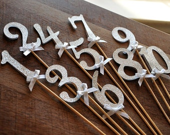 Table Numbers on Sticks in Glitter Silver. Silver Wedding Decor. Handcrafted in 2-3 Business Days.  Glitter Silver Number Centerpiece.