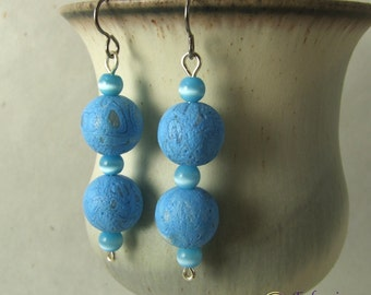Blue polymer clay art bead earrings on hypo-allergenic titanium ear wires