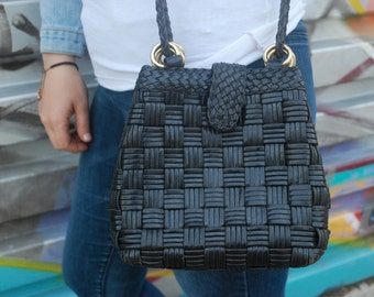 Black Leather Bucket Bag Woven Braided Crossbody