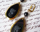 Mourning Veil // Incredible 1930s French Jet Glass Cameo Drop Earrings with Faceted Onyx, Noir Art Deco Victorian Memento Mori Goth Flapper