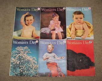Vintage 1942, 1943 Woman's Day Magazines: Lot of 6 Issues