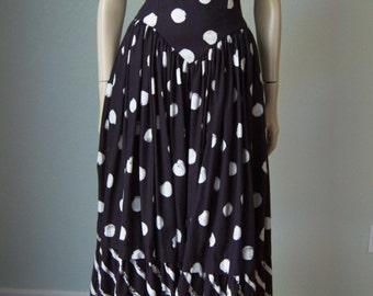 1980s Lillie Rubin Strapless Cotton Dressy Sun Dress // Black and White Polka Dots // Full Skirt