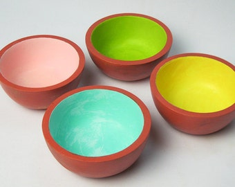 Wooden Bowls Colorful Set of Four Hand Painted and Distressed in Fiesta Colors / Casual Storage Bowls