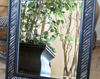 Contemporary Beveled Wall Mirror Hand Painted in Black with Silver Undertones 21.5 x 25.5