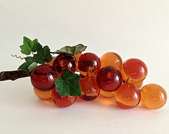 Mid Century Lucite Grape Cluster Large Orange Grapes Retro Lucite Fruit Mid Century Tabletop Decor Bunch of Grapes