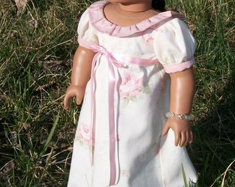 "American Made 18"" Doll Regency Style Dress - Ivory and Rose"