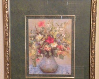 Pair of Framed Double Matted Floral Prints