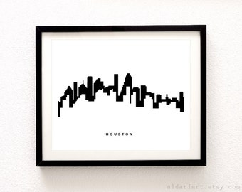 Houston Skyline Print - Houston Cityscape Print - Houston Wall Art - Modern Decor - Aldari Art