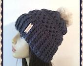 Midnight Blue Faux fur Crochet Slouch  loose fitting stylish woman hat pom pom