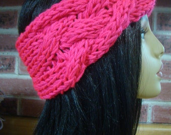 Neon Pink Knit Headband Ear warmer Hat Chunky Cable Stitch