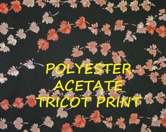 Black Peach Tricot Print, Falling Leaves, Wide Fashion Fabric, Semi Sheer, Lightweight Polyester Acetate, half yard, B28