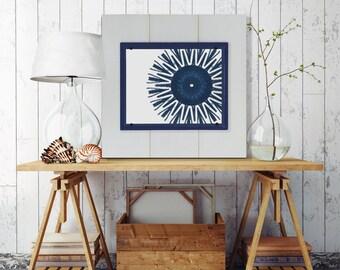 11x14 Framed Shibori Starburst Print Indigo Blue Boho Plank