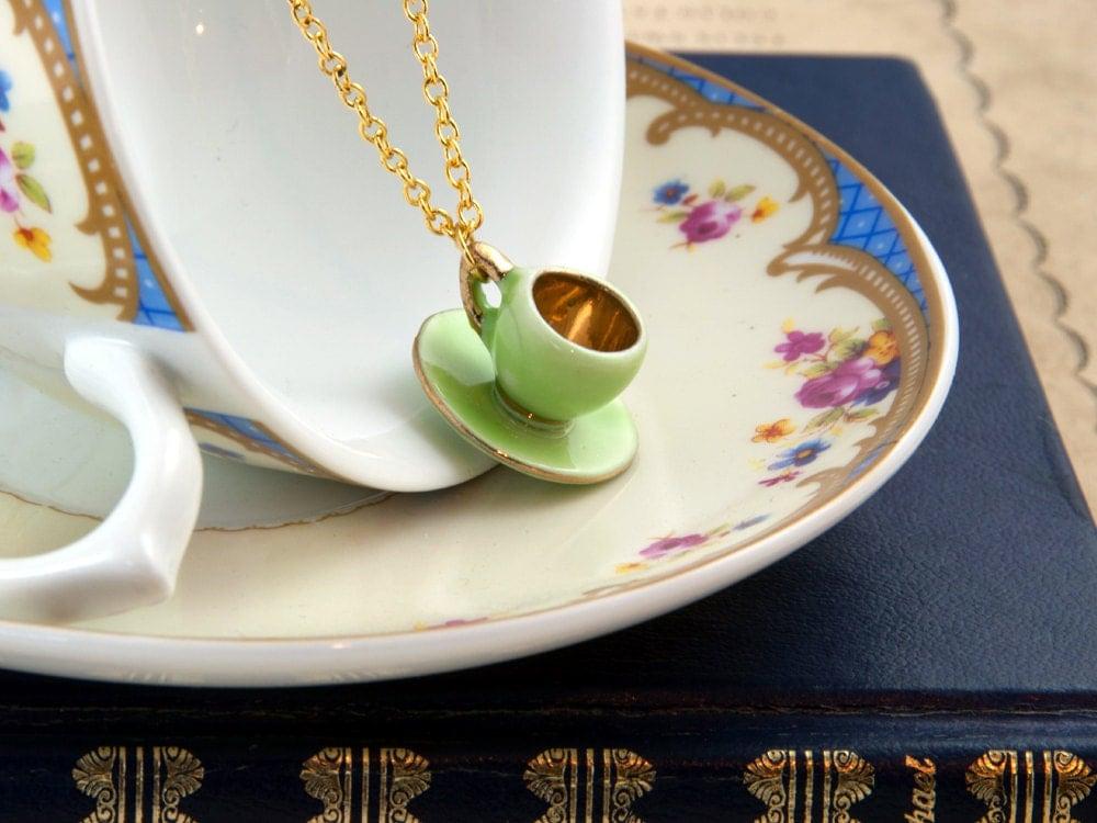 Green Teacup Necklace - Tea Party Favor - Teacup Jewellery