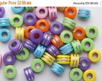 250 Pieces of Acrylic Jewelry Beads - Rondelle Shape, Mixed Bright Colors with Silver Stripes, 9mm