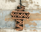 In Stock - Red Clay Two Sided Hand Painted Cross Earthenware Ornament