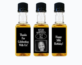 Custom Whiskey Mini Bottle Labels Adult Birthday Favors Woman Women 21st 30th 40th 50th 60th Birthday Celebration Photo Whisky Gifts EB-1145