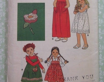 Little Girls Dress in Three Lengths and Applique Transfer Size 4 Vintage 1980's Butterick Pattern 5920 Cut/Complete