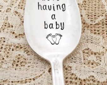 We're having a baby: vintage spoon, hand stamped announcement
