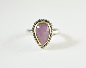 Pink Sapphire Ring in Sterling Silver and 18k Yellow Gold - Rose Cut Gemstone Ring - Size 7 - Pink Sapphire Jewelry