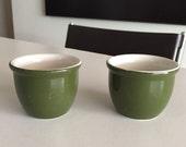 Hall Pottery/ Mid Century PAIR Ramekins// Hall Stoneware Bowls/ Hall Ramekin/Green and White Stamped By Gatormom13