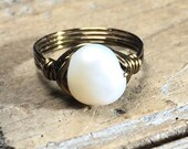 SALE - size 5.5 , 5 1/2 -  white freshwater pearl antique brass gold wire wrapped ring - beachy beach jewelry women men girl teen handmade
